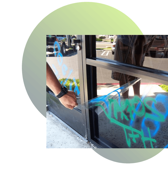 Protect your windows from vandalism with 3M anti-graffiti window film.